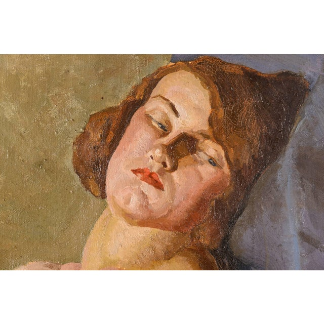 """Early 20th Century Art Deco """"Female Nude"""" Oil Painting by Mabel Kaiser Saloomey For Sale - Image 5 of 7"""