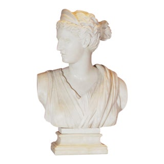 Marble Bust of Diana on Marble Pedestal For Sale