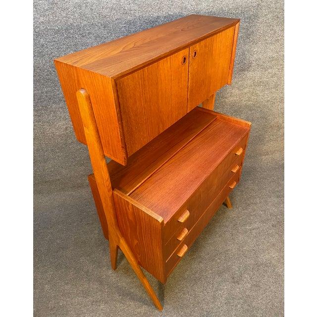 Vintage Danish Mid Century Modern Teak and Oak Secretary Desk Vanity For Sale - Image 10 of 11