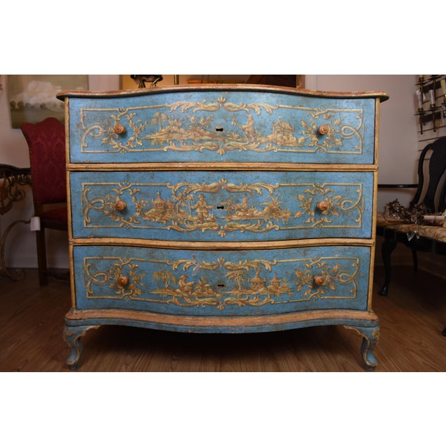 This exquisite 18th century Italian commode features a serpentine front with three functional drawers all hand-painted...