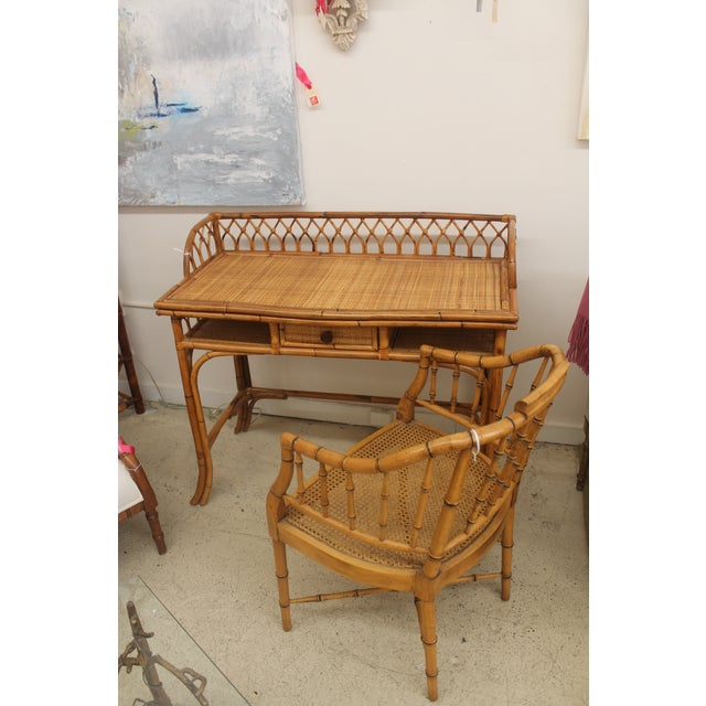 Rattan Desk and Bamboo Chair Set - Image 2 of 5