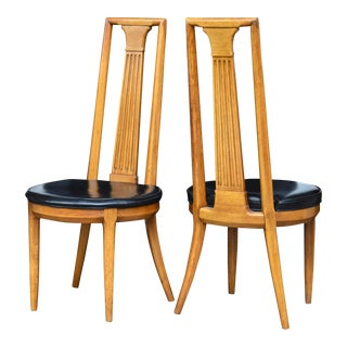 High Back Mid Century Side Chairs of Ash by Tomlinson For Sale