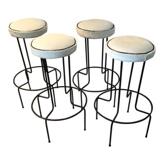 1950s Vintage Frederick Weinberg Wrought Iron Bar Stools- Set of 4 For Sale