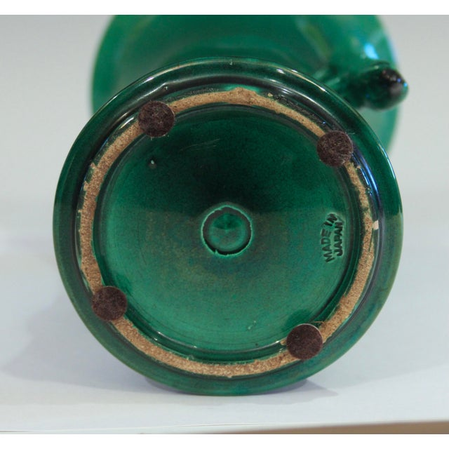 Antique Awaji Pottery Arts & Crafts Green Gu Monochrome Vase For Sale In New York - Image 6 of 9