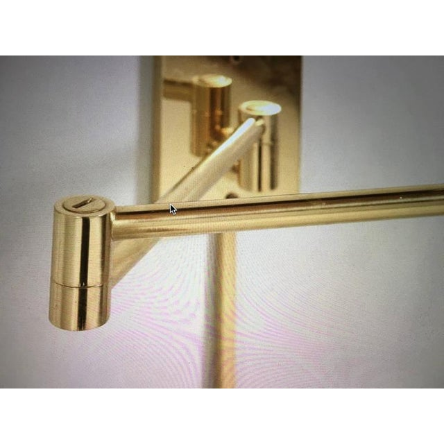 Vintage Hansen Brass Swing Arm Wall Lamps - A Pair For Sale - Image 5 of 9