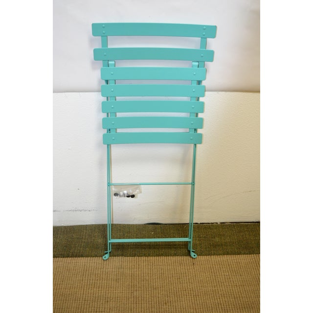 Metal Fermob Bistro Lagoon Blue Chair For Sale - Image 7 of 8