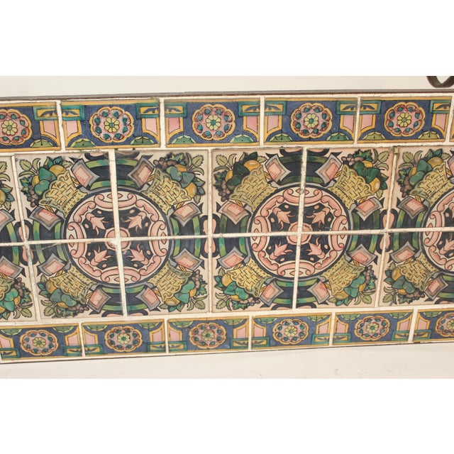 Spanish Tile Top Wrought Iron Patio Table For Sale - Image 9 of 13