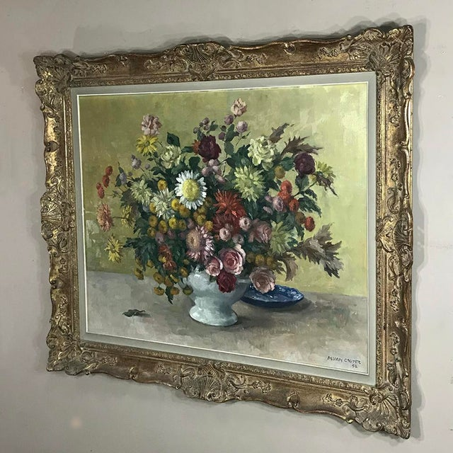 Antique Hand Painted Oil on Canvas by Marcel Van Cauter For Sale - Image 4 of 12