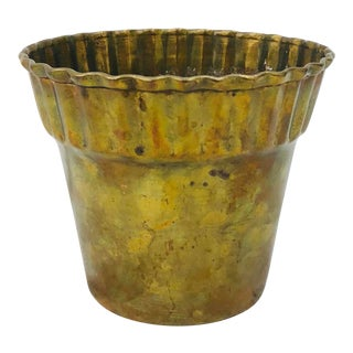 Vintage Scalloped Edge Brass Cache Pot For Sale
