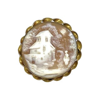Antique Scenic Cameo Brooch, Late 1800s For Sale