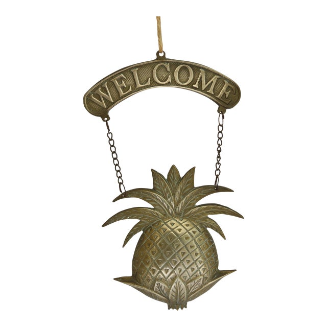 Vintage Brass Pineapple Welcome Sign - Image 1 of 5