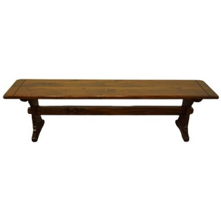 1970s Vintage Kling Colonial Solid Pine Trestle Bench For Sale