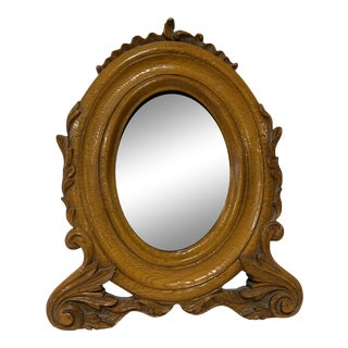 Early 20th Century Louis XV Victorian Golden Oak Oval Picture Frame For Sale