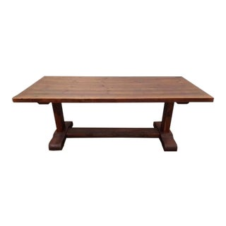 Handcrafted Massive Rustic Reclaimed Wood Trestle Dining Table For Sale