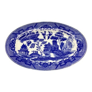 Late 20th Century Minature Blue Willow Serving Plate For Sale