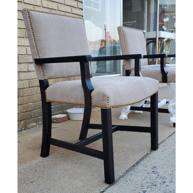 Hollywood Regency Henredon Furniture Mark D. Sikes Sheffield Upholstered Arm Chair For Sale - Image 3 of 11