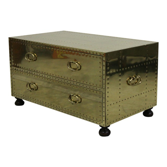 Vintage 2 Drawer Brass Studded Coffee Table Chest Made in Spain by Sarreid For Sale