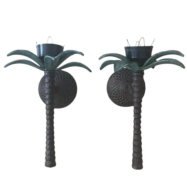 Cast Iron Palm Tree Sconces - A Pair - Image 1 of 8