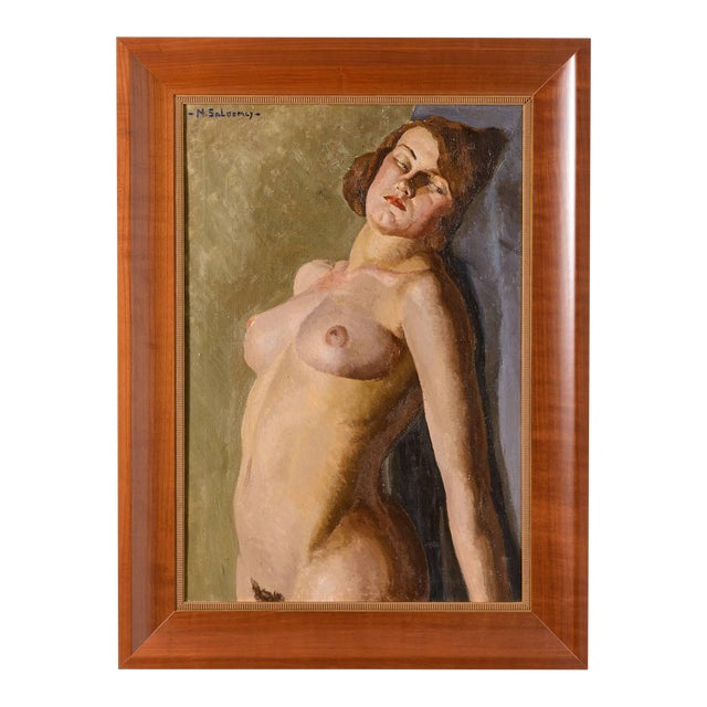 """Art Deco """"Female Nude"""" Oil Painting by Mabel Kaiser Saloomey For Sale"""