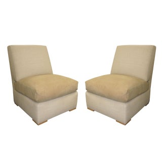 Kreiss Collection Raffia & Ultrasuede Slipper Lounge Chair- a Pair For Sale