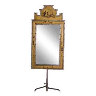 Chinoiserie Yellow/Silver Mirror For Sale