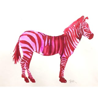 Pink Zebra Contemporary Painting For Sale