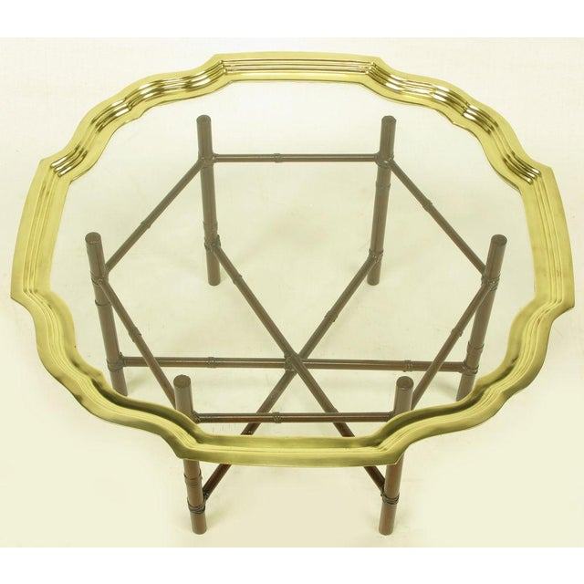 Iron Bamboo-Form Coffee Table With Brass Rimmed Glass Tray - Image 7 of 7
