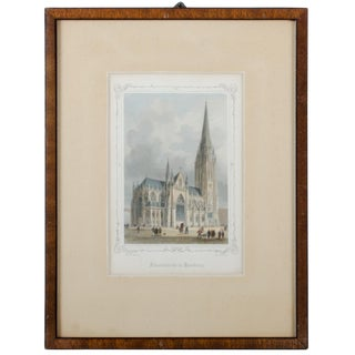 1848 St. Nicholas' Church, Hamburg, Germany, Engraving by M. Kurz C For Sale