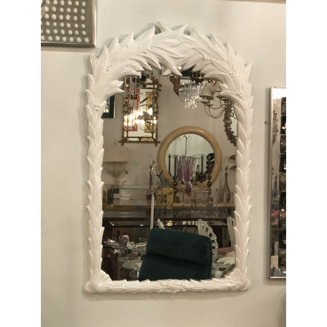 Beautiful vintage palm frond tree leaf wall mirror. This has been professionally lacquered in a white gloss. New mirror...