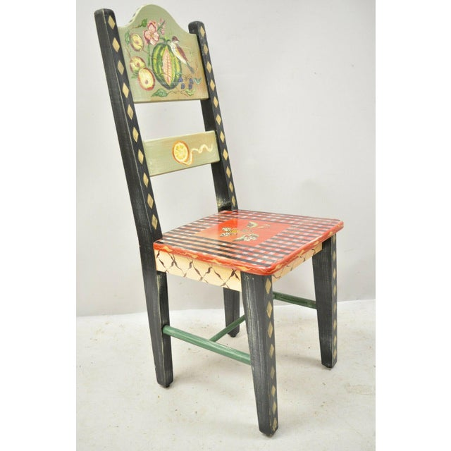 Late 20th Century French Country Style Handpainted Fruit Bird Butterfly Side Chair For Sale - Image 10 of 11