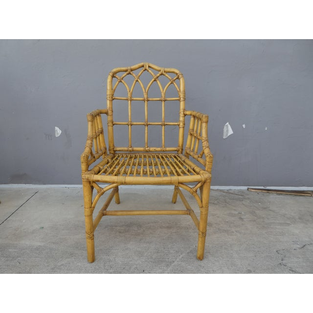 Rattan Classic Chinese Chippendale Rattan Dining Room Table Base with 6 Pagoda Top Dining Chairs For Sale - Image 7 of 13