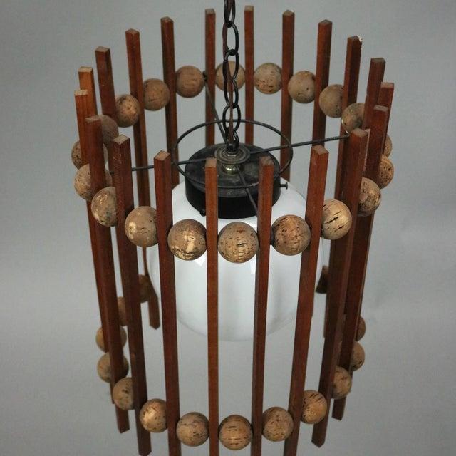 Mid-Century Modern Teak and Cork Ball and Slat Cylinder Pendant Light