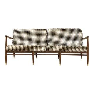 1960s Vintage Danish Modern Walnut Love Sofa For Sale