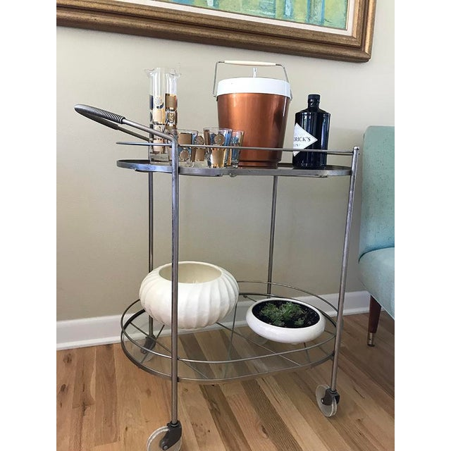 Glass Mid Century Vintage Two-Tier Oval Rolling Bar Cart For Sale - Image 7 of 9