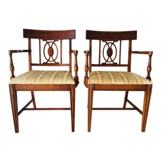 1960s Regency Bernhardt Hardwood Arm Chairs - a Pair For Sale