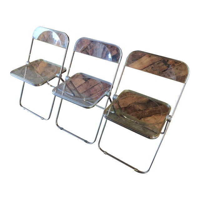 Piretti for Castelli 1970s Lucite and Chrome Folding Chairs - Set of 3 - Image 1 of 6