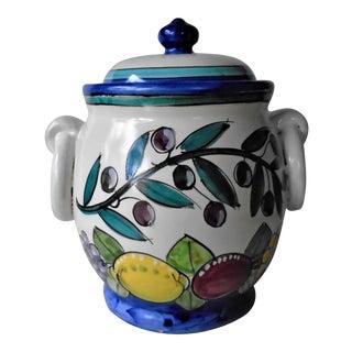Vietri Hand Painted Ceramic Biscuit Jar For Sale