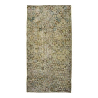 Distressed Vintage Turkish Sivas Area Rug in Muted Colors and Modern Industrial Style