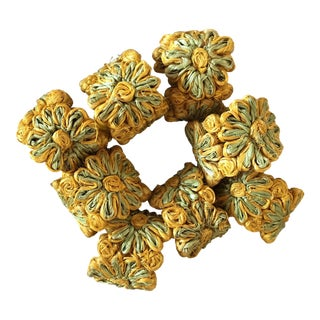 Vintage Floral Yellow & Green Napkin Rings - Set of 8