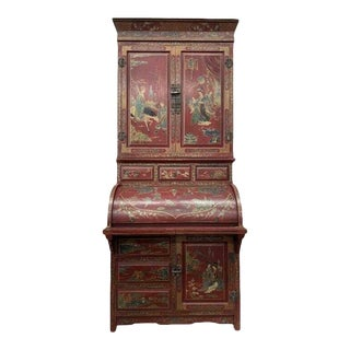 20th Century Chinese Chinoiserie Secretary Desk with Bookcase For Sale