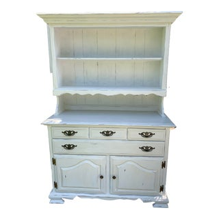 Vintage French Country Hand Painted/ White Distressed Buffet Hutch For Sale