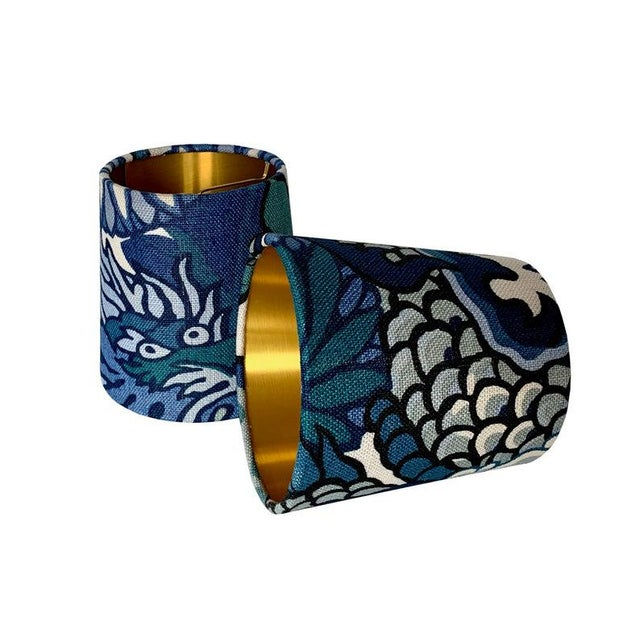 Schumacher Blue Floral Chinoiserie Sconce or Chandelier Shade Shade For Sale - Image 4 of 5