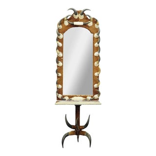 Antique Bull Horn Mirror With Console Table, Austria 1870 For Sale