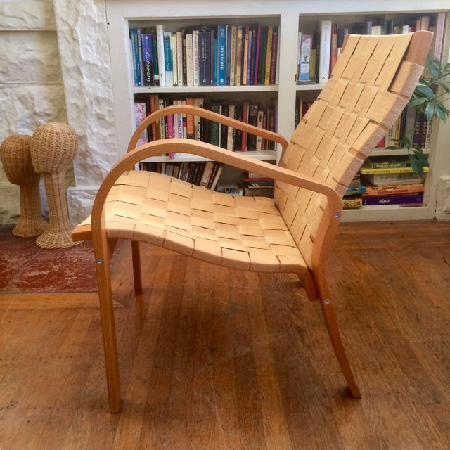 Mid-Century Modern 1990s Vintage Bruno Mathsson Style Molded Plywood Armchair For Sale - Image 3 of 9
