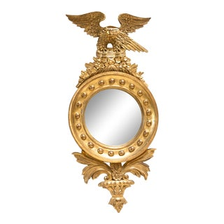 French Neoclassical Round Gilt Wood Mirror With Eagle For Sale