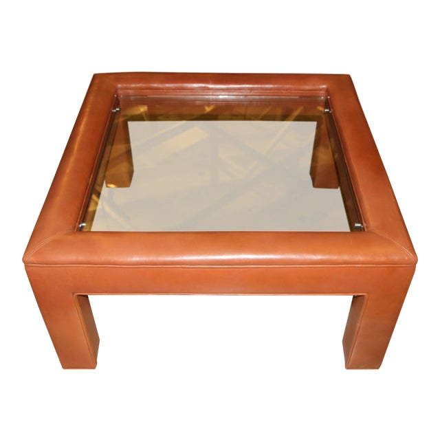Leather Wrapped Coffee Table With Glass Insert For Sale