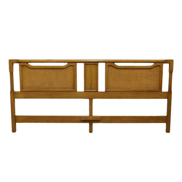 Wood Mid-Century Modern King Size Panel Headboard With Cane-Like Detail For Sale - Image 7 of 7