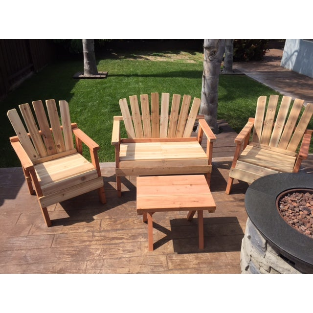 Natural Redwood Patio Set - Set of 4 - Image 10 of 11
