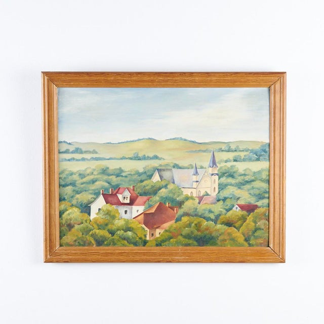 Realism 1940s Vintage Wpa Style Southwest Texas State University Painting For Sale - Image 3 of 3