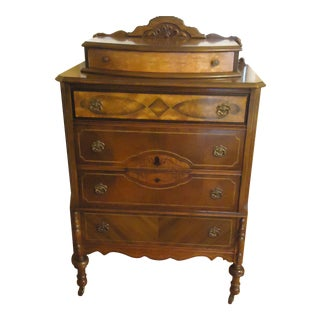 20th Century Traditional 5-Drawer Wood Walnut Highboy For Sale